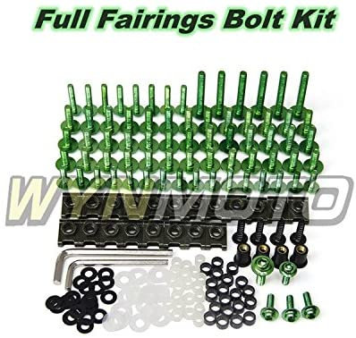 Ceramicszb US Stock Full Fairings Bolt Kit For Yamaha R1 YZF1000 R1 2012 2013 2014 2015 2016 New Aluminum Fasteners Body Screws Hardware Clips (Green)
