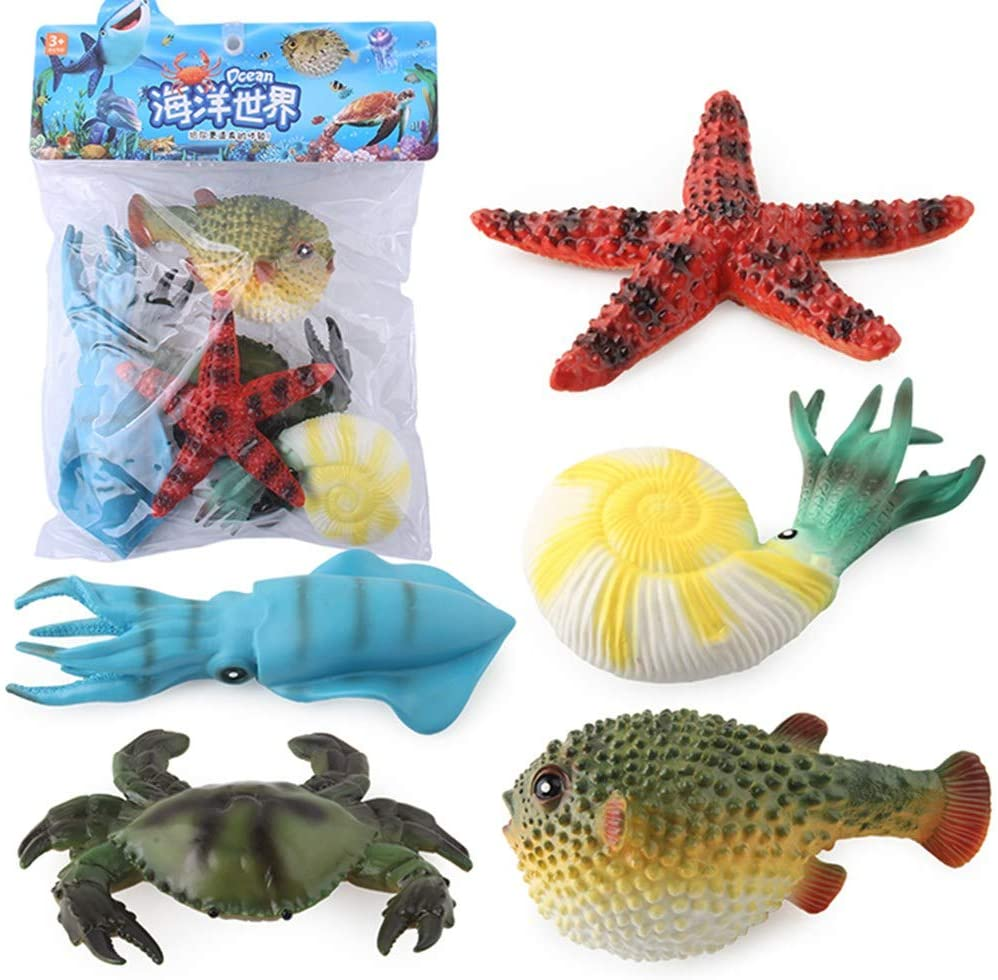 VASTAIR 5PCS Lifelike Sea Creature Toy Realistic Sea Star Squid Crab Model Motion Simulation Animal Model Ocean Animal Figure Toy Best Gift for Kids Children(#2)
