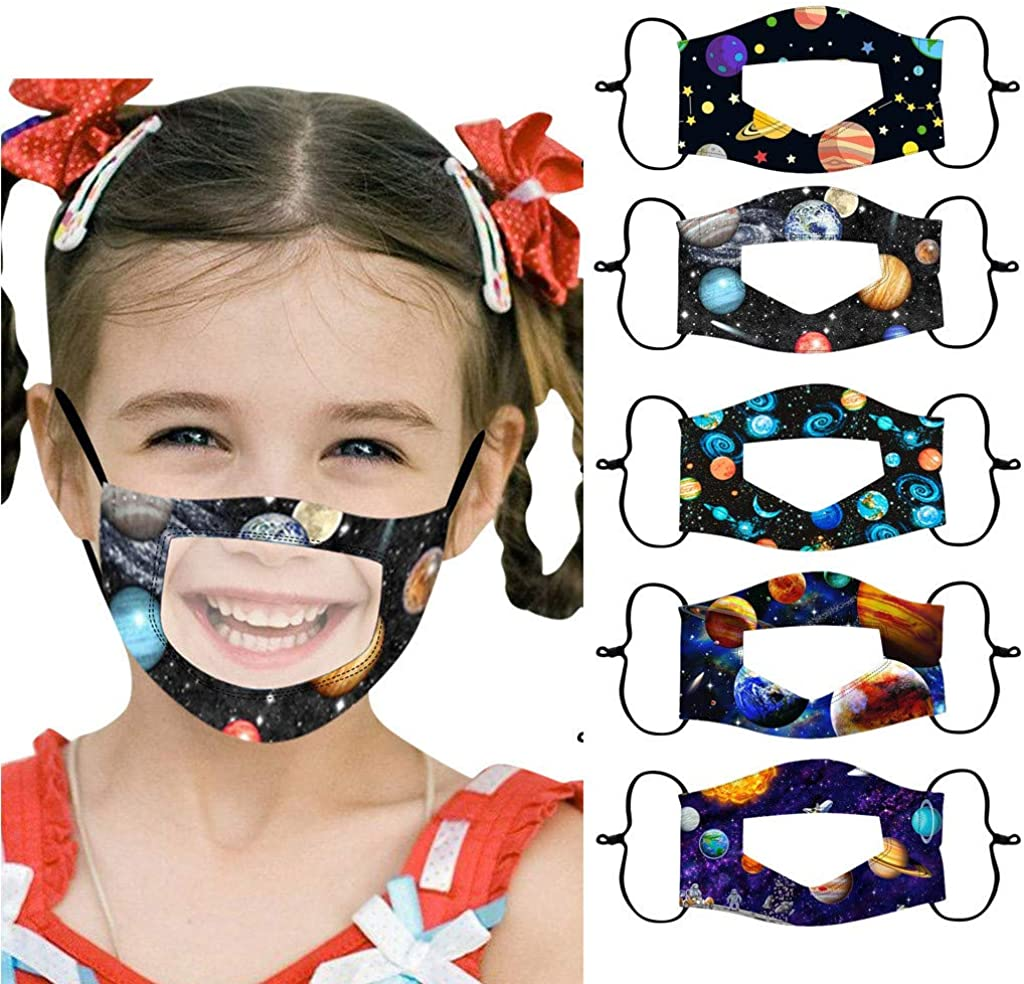 Weginte 5PCS Kids Washable Reusable Face+Bandanas Children Breathable School Mouth Outdoor Activities with Clear Window