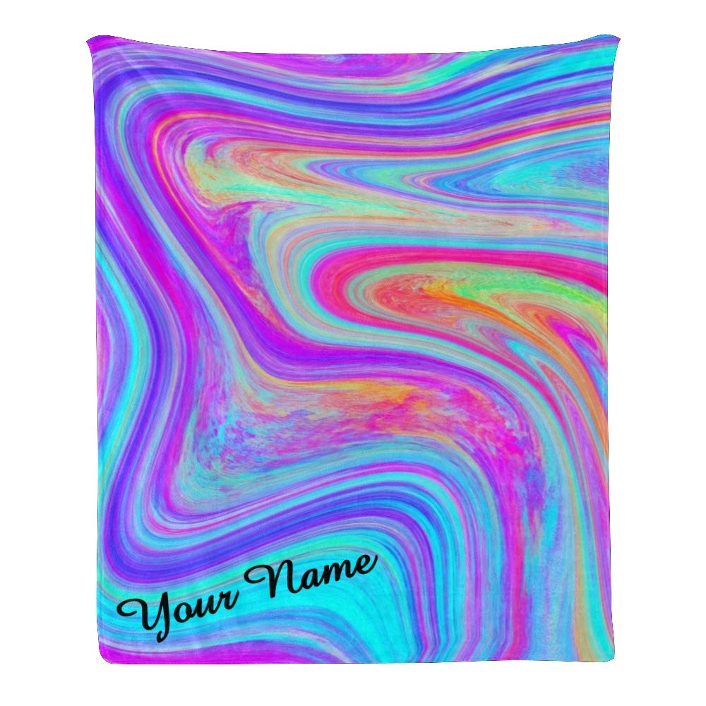 Personalized Kids Fleece Blanket with Name Custom Watercolor Colorful Marble Baby Throw Blanket for Bed (30 x 40 inches)