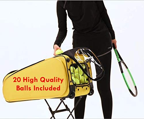 VIV TennisPUB – Revolutionary All-in-One Tennis Play Tool with Wheels, Hold 2 Racquets, Easy Pickup, Carrying and Storage (200 Balls) - Ball Hopper, Tennis Bag, Pickup Basket and Travel cart