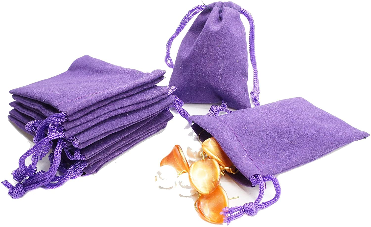 Wholesale Lot of 100 Purple Velvet Pouches with Drawstring for Jewelry Gift Bags (1.97x2.75in)