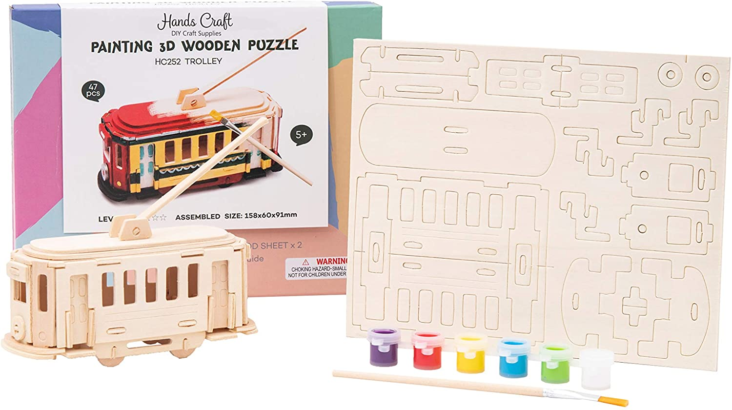 Hands Craft DIY Wooden Puzzle with Paint Kit (Trolley)