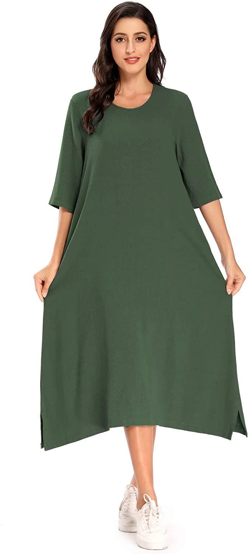 MEOMUA Women's Linen Dresses Casual Loose A-Line Cotton Dress