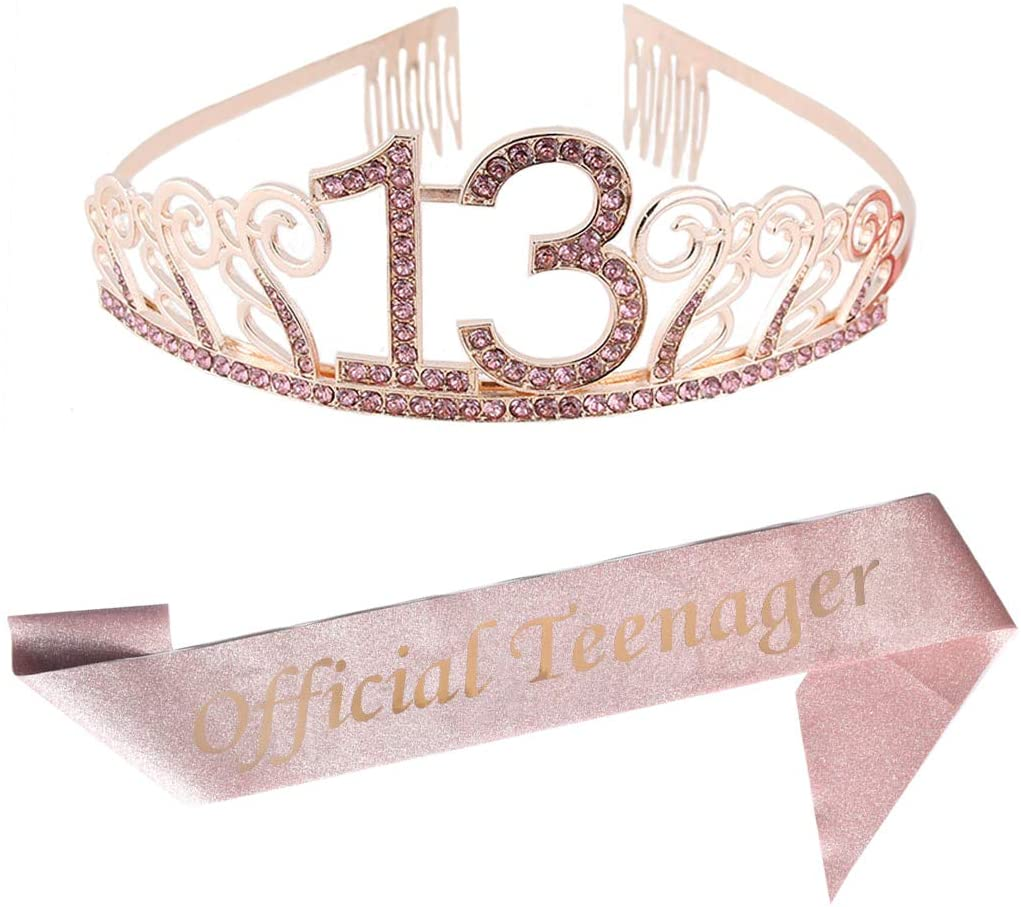 13th Birthday Pink Tiara and Sash Pink Glitter Satin Sash and Crystal Rhinestone Tiara Crown for Happy 13th Birthday Party Supplies Favors Decorations 13th Birthday Party Accessories