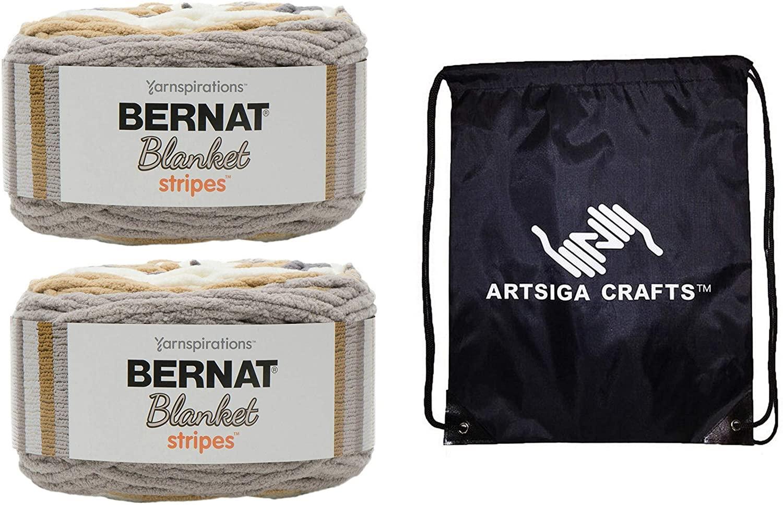 Bernat Knitting Yarn Blanket Stripes Foggy Shores 2-Skein Factory Pack (Same Dyelot) 161276-76021 Bundle with 1 Artsiga Crafts Project Bag
