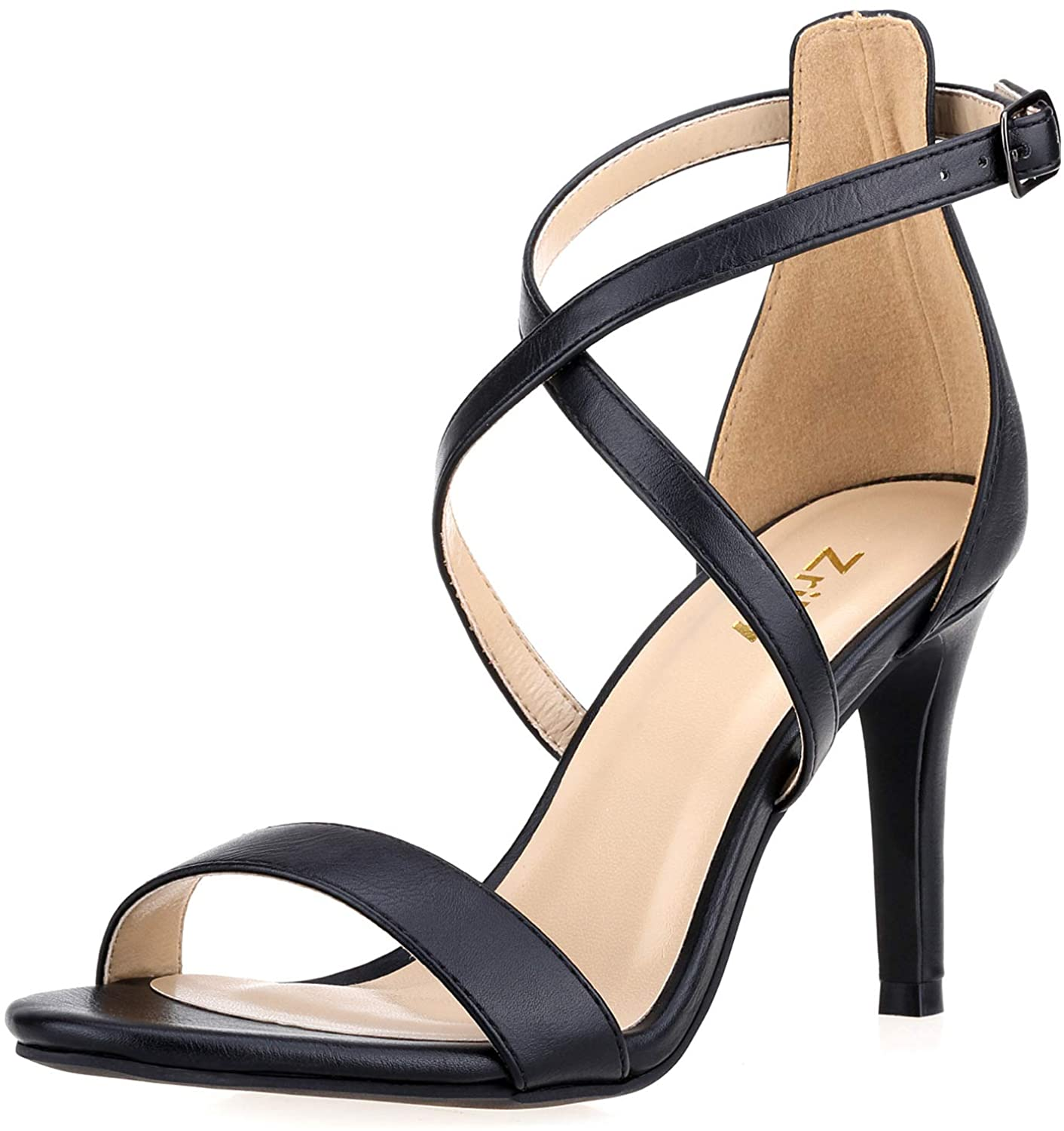 ZriEy Women Heeled Sandals Cross Ankle Strap Sandals Open Toe Strappy High Heels Party Wedding Shoes