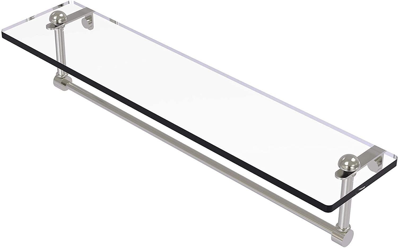 Allied Brass RC-1/22TB 22 Inch Vanity Integrated Towel Bar Glass Shelf, Satin Nickel