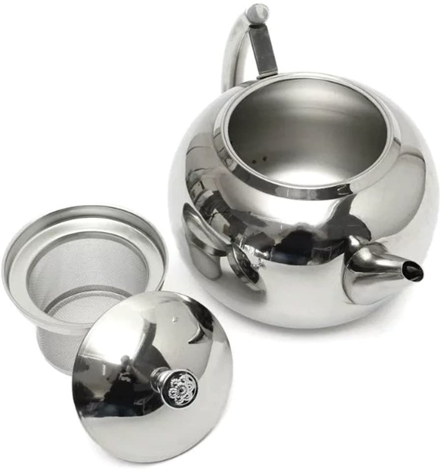 Teapot with Infuser Polished Stainless Steel, Coffee Pot with Lid, Slim Teapot Mouth Apple Shape for Home, Hotel, Restaurant (2L)