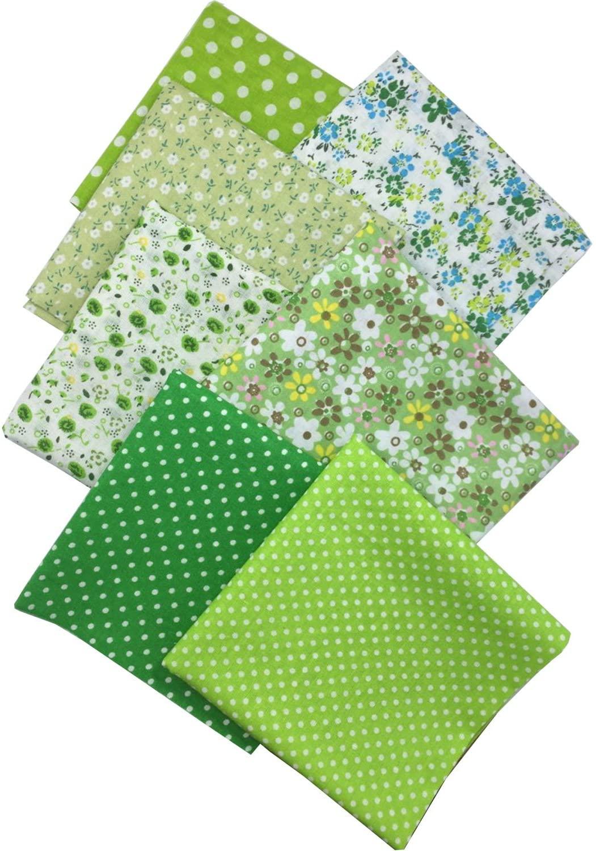 "levylisa 19.7"" x 19.7"" 7pcs Green Printing Floral Dot Stripe Cotton Quilting Fabric Quarter Bundle Patchwork Quilting Fabric Sets Sewing Fabric Patchwork Flower Dots DIY Quilting Handmade Craft"