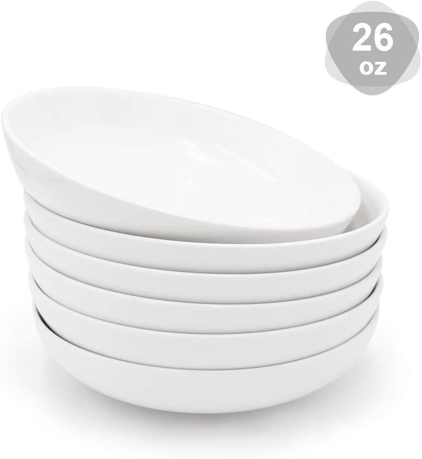 KitchenTour Porcelain Salad Pasta Soup Bowls - Large Serving Bowl Set 26 Ounce - Set of 6, White