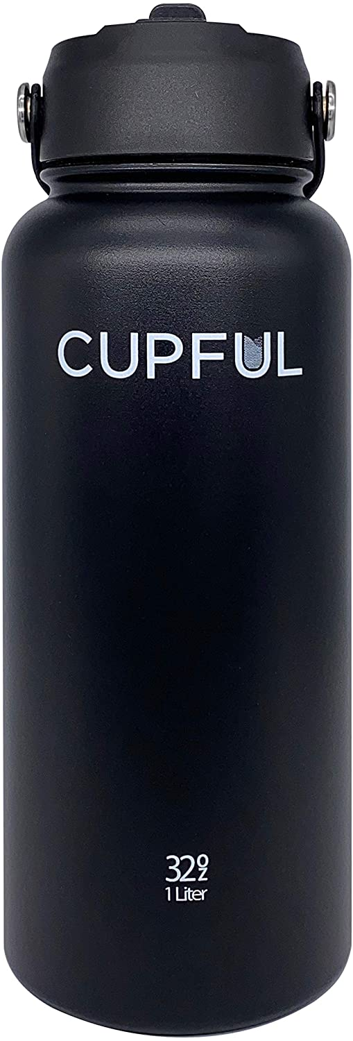 Cupful Progress Water Bottle - Vacuum Insulated Stainless-Steel Water Bottle Flask with Wide Mouth and Straw Lid (Black, 32 oz)
