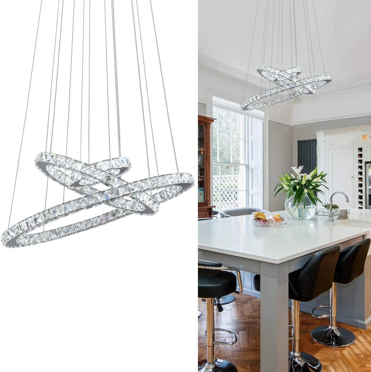 KAI Crystal Chandelier Island Pendant Light Contemporary Not Dimmable LED Lamp with Adjustable Height 3 Rings 6000K 8640LM Chrome Modern Flush Mount Ceiling Lighting for Dining Room Lobby