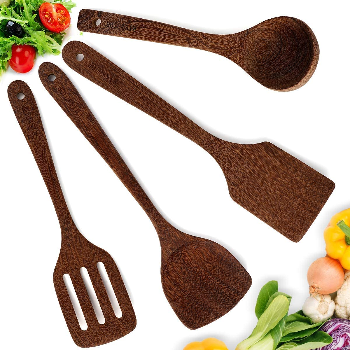 RISWOJOR Wooden Cooking Utensils,Wooden Kitchen Utensil Set of Unpainted and Wax-Free Handmade by Natural Wenge Wood,Wooden Utensils Includes Wooden Spatula Set,Wooden Spoons for Cooking