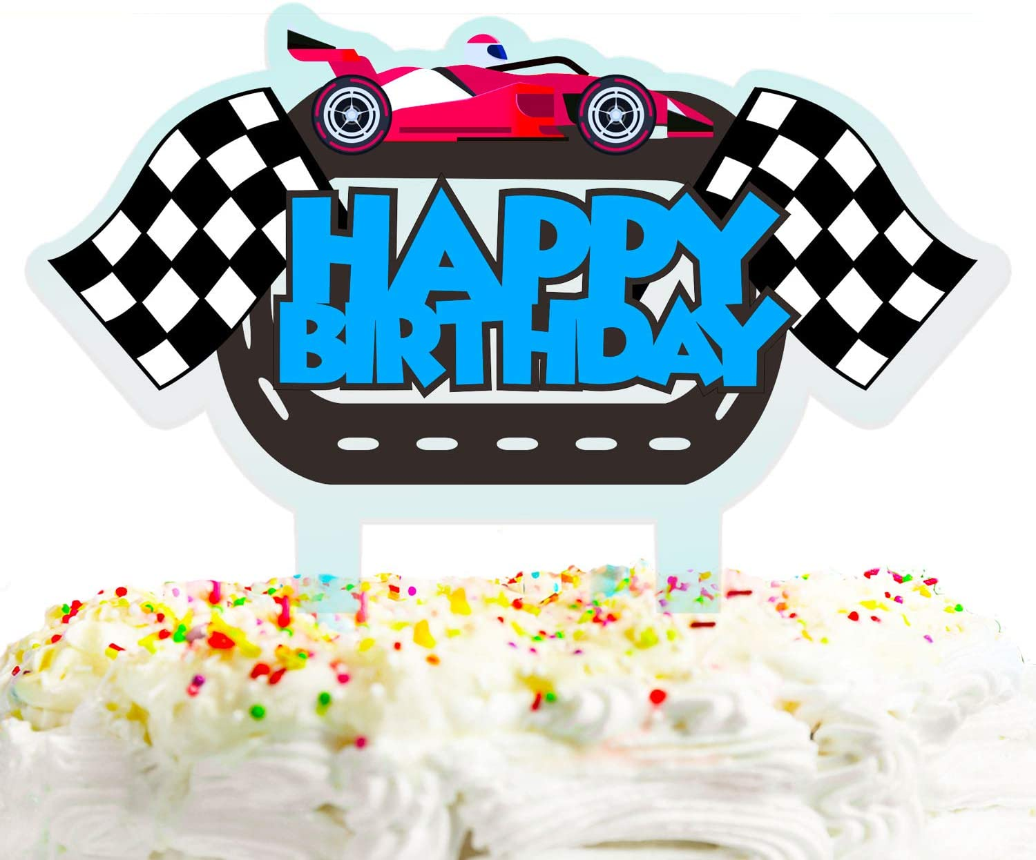 Racing Car Happy Birthday Cake Topper Decorations with Kids for F1 Car Theme Picks for Racing Birthday Party Decor Supplies