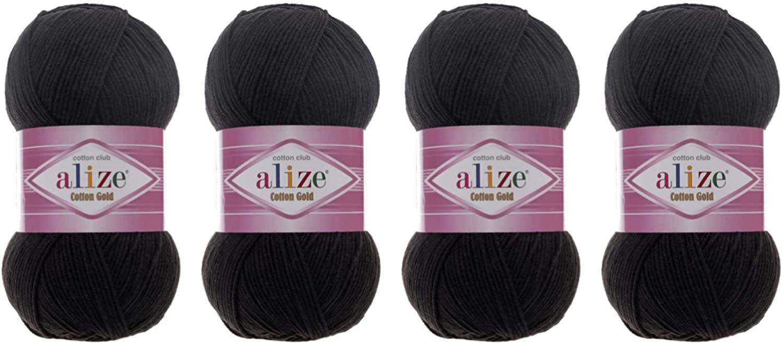 55% Cotton 45% Acrylic Yarn Alize Cotton Gold Thread Crochet Hand Knitting Art Lot of 4skn 400 gr 1444 yds (60-Black)