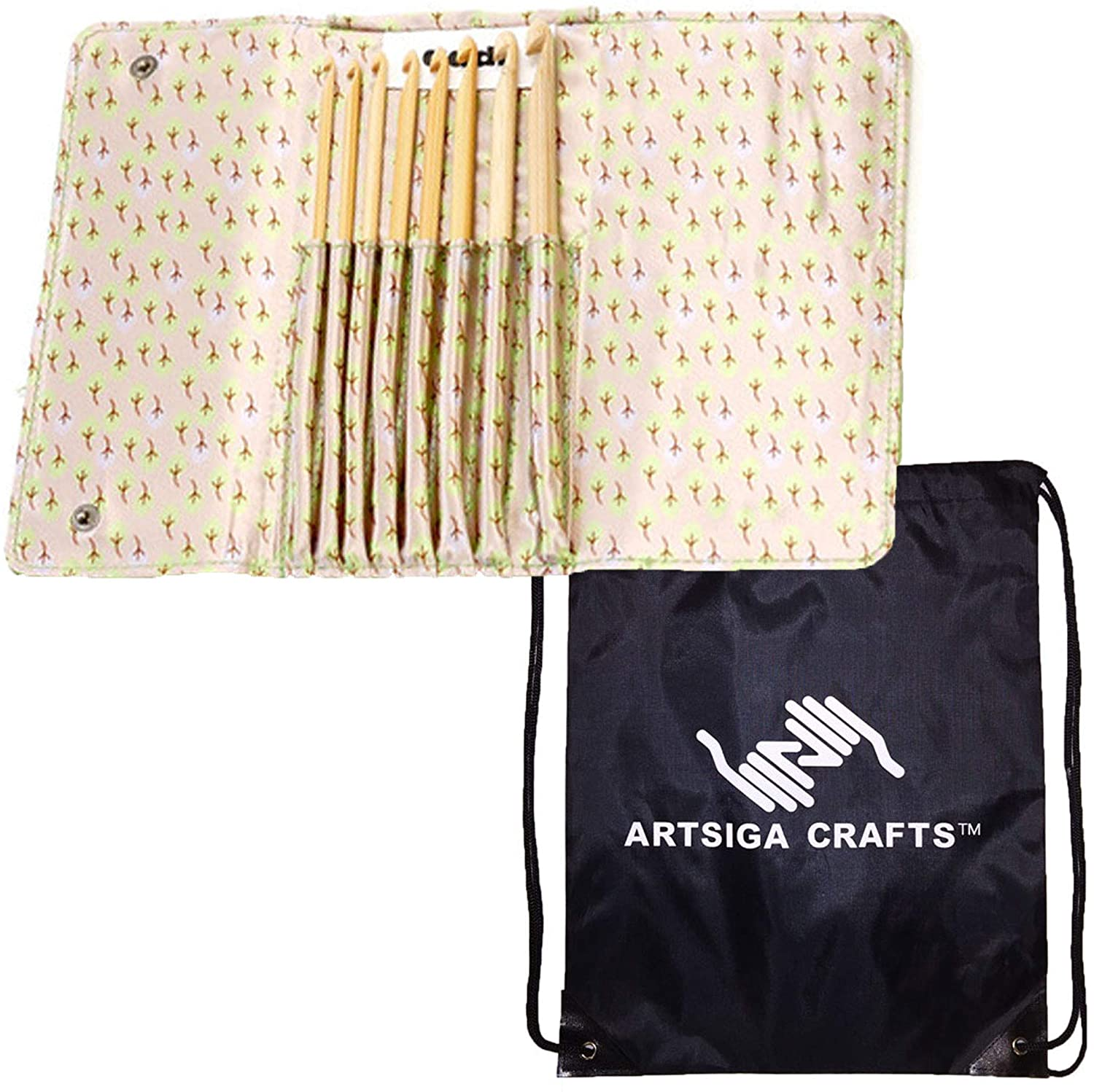addi Knitting Needles Crochet Hook Click Bamboo Interchangeable System Bundle with 1 Artsiga Crafts Project Bag
