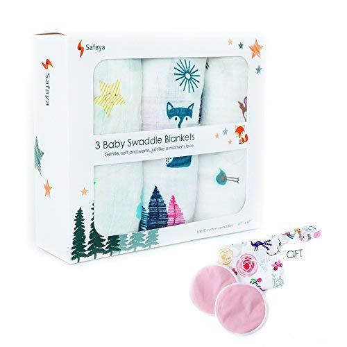 Ultra Soft Organic Muslin Baby Swaddle Blanket 47x47 inch, 3 Pack Boys and Girls Newborn Receiving Gift Wrap and Bamboo Breastfeeding Pads (1set) Bonus
