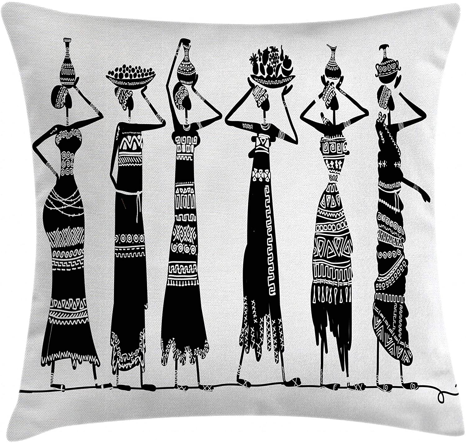 Ambesonne African Throw Pillow Cushion Cover, Sketch of Local Women with Jugs Silhouettes Patterned Dresses, Decorative Square Accent Pillow Case, 20 X 20, Black and White