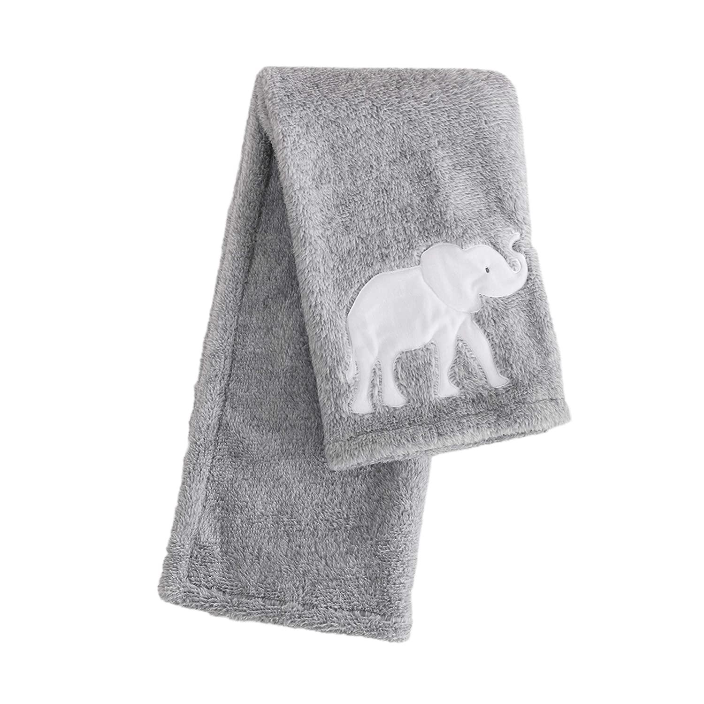 Levtex Baby - Elephant Parade Plush Blanket - White Elephant Silhouette on Grey Plush - Nursery Accessories - Blanket Size: 30 x 40 in.