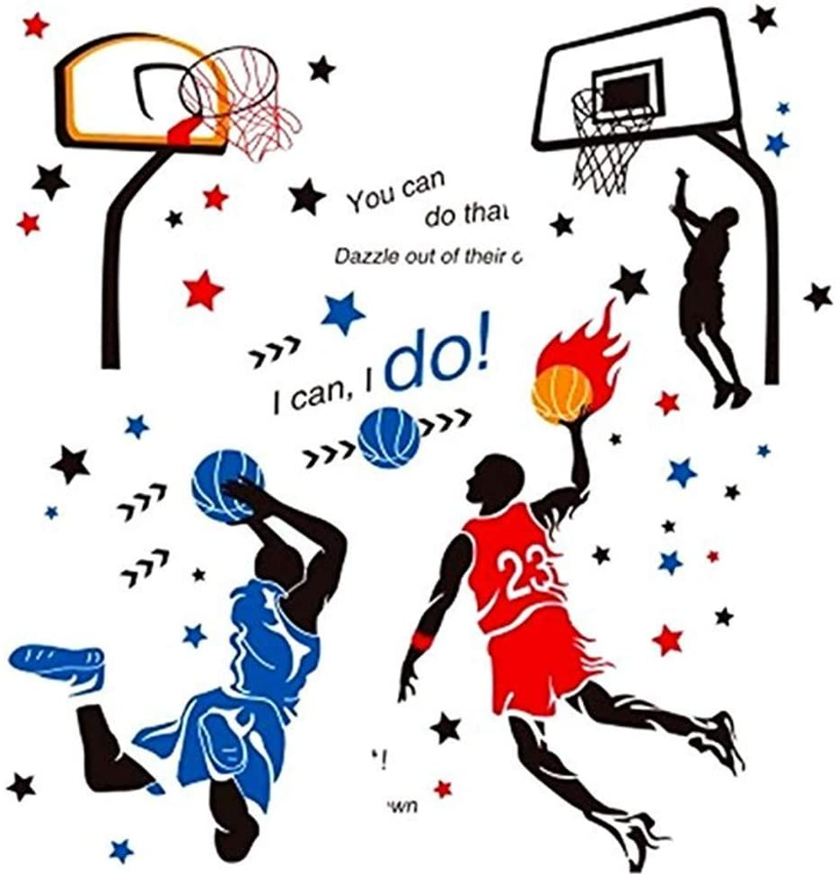 Amaonm Creative 3D Basketball Player Dunk Basketball Star Wall Decals Removeable Walls Art Decor DIY Wall Sticker Home Decorations Decal Nursery Sticker for Boys Room Livngroom Bedroom (Red+Blue)