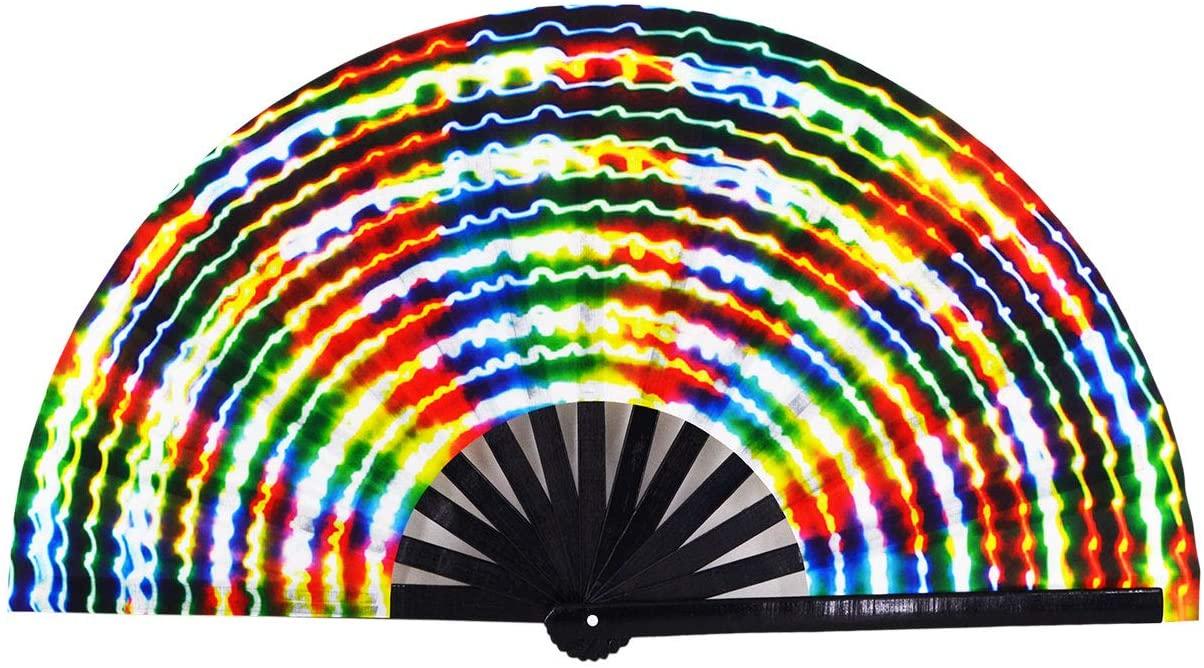 Amajiji Large Rave Folding Hand Fan for Men/Women, Chinease/Japanese Bamboo Hand Fan, Festival Accessories Performance Decoration Gift Dance Handheld Fan (Electromagnetic Light)
