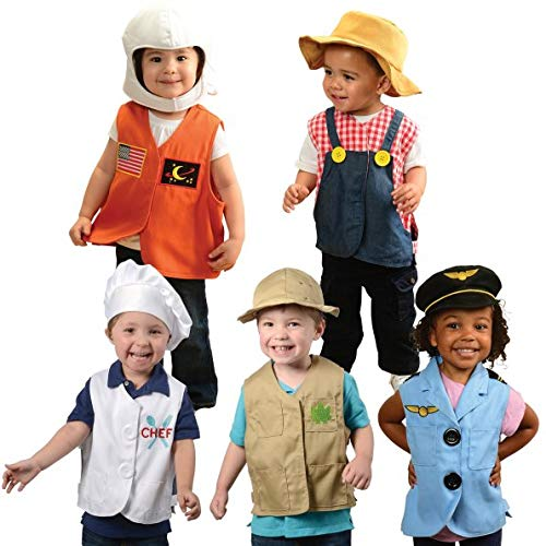 Constructive Plyathings Toddler Dress Up Vests and Hat Collection, Imaginary Play Time, Set of 5 Outfits