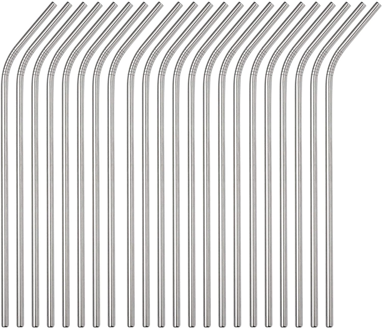 Brightbuy Set of 48 Stainless Steel Straws 10.5 Reusable Metal Drinking Straws For 30oz Tumblers Yeti 6mm Diameter (48 Bent)