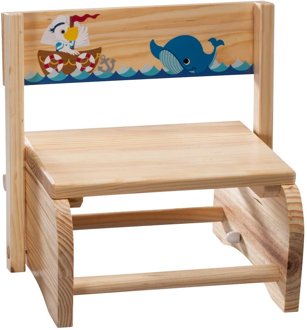 Fox Valley Traders 2-in-1 Children's Step Stool and Chair, Ocean Design