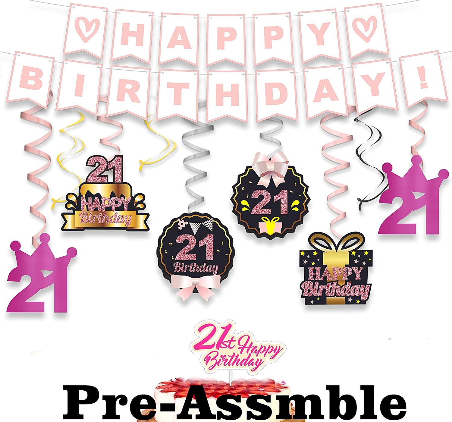 wongmode 21st Birthday Decorations Set - Happy Birthday Theme Swirls Streamers Garland Banner and Cake Topper Cheers to 21 Years Old Party Supplies Black Pink