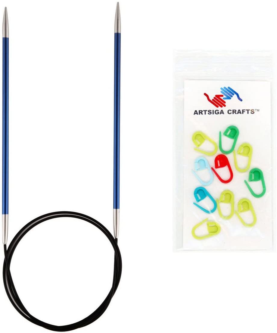 Knitter's Pride Knitting Needles Zing Fixed Circular 32 inch Size US 6 (4mm) Bundle with 10 Artsiga Crafts Stitch Markers 140129