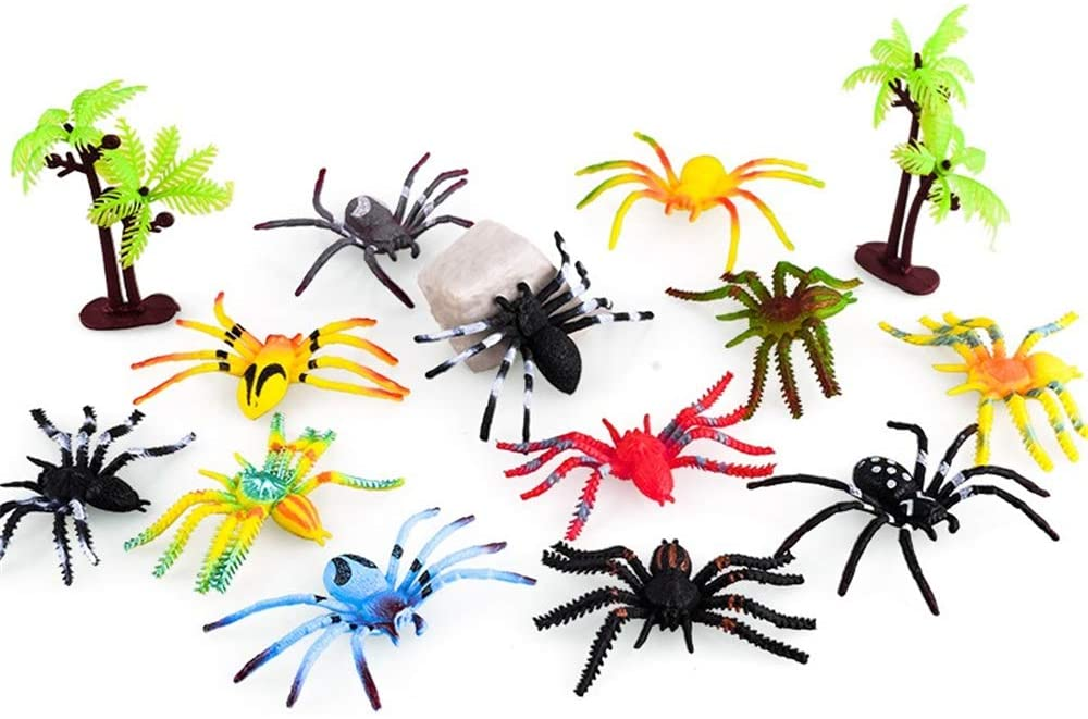 FeiWen Animal Toy A Variety of Mini Plastic Animal Toy Sets,Animal Figurines Insect / Ocean / Dinosaur / Spider / Farm / Jungle Animal Set,Birthday Party Games,Party Decoration (spider15)