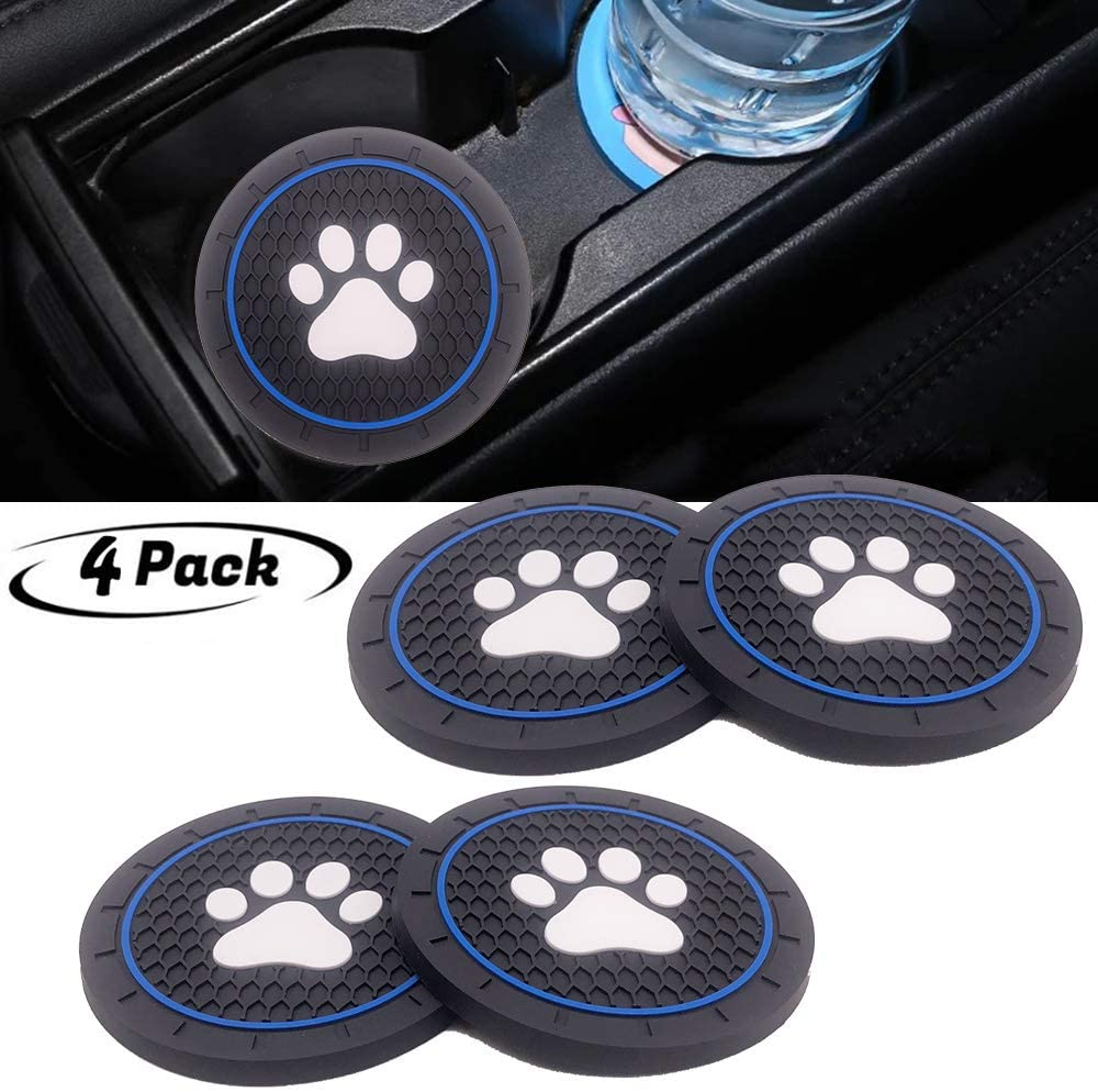 4pcs paw Logo Cup Holder Coasters Car Accessories, Fit Jeep BMW Toyota Mercedes Benz Chrysler Audi Lexus Honda RAM Dodge VW Nissan Cadillac All Car Cup Holder