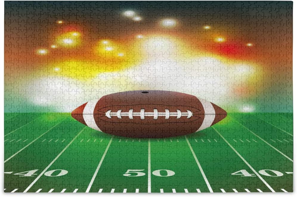 ALAZA American Football on Grass Sport Jigsaw Puzzle Leisure Creative Games 1000 Pieces for Adults Children Gift
