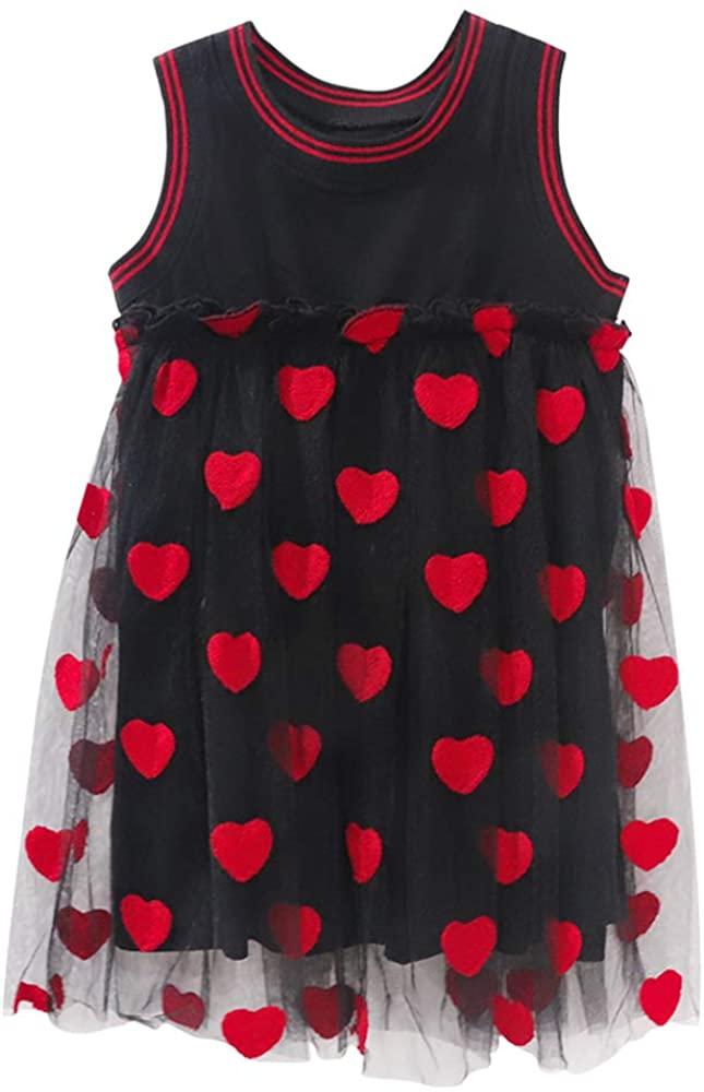 KOTAMESES Girls Sleeveless Dress Cotton T-Shirt Sundress Party Princess Tulle Love Heart Summer Dress
