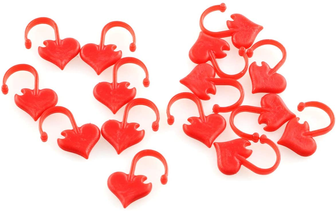 E-outstanding 50pcs Red Love Stitch Ring Markers Heart Shaped Stitchmarker Sewing Tools Accessories