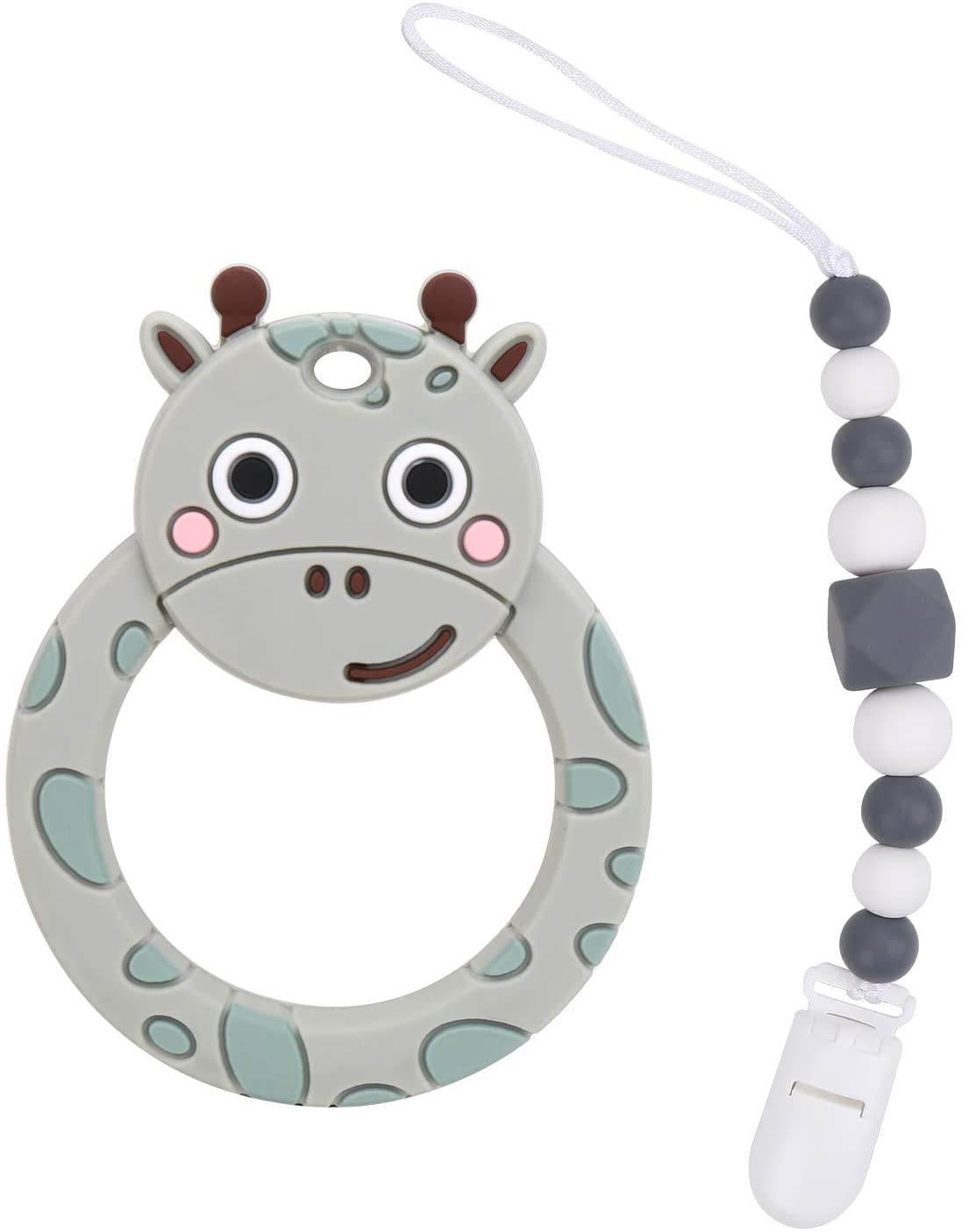 Flantor Baby Teether Silicone Teether Toy with Pacifier Clip Holder Set for Newborn Babies,Food Grade BPA Free Silicone Teether, for Boy and Girl (Giraffe-Grey)