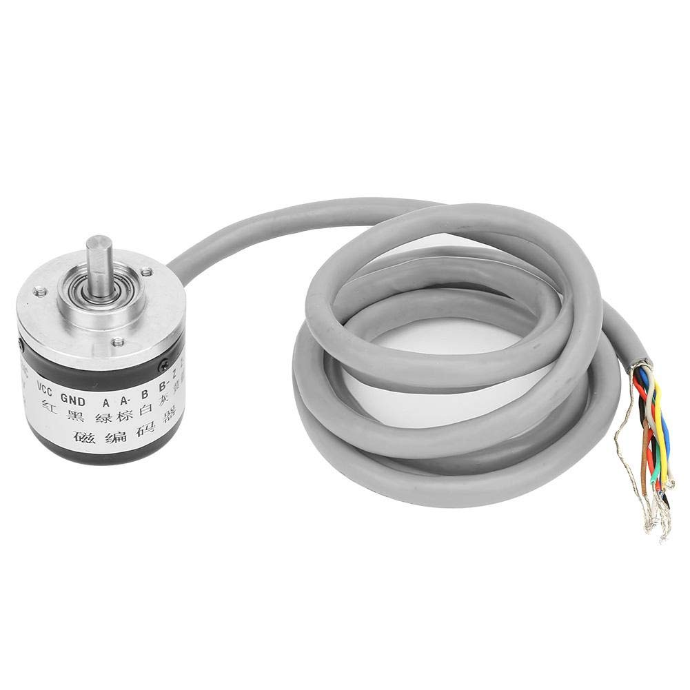 Encoder Rotary,DC5V 1024 Pulses Incremental Rotary Encoder,38mm Magnetic Encoder,Stainless Steel Spindle/Metal Shell,for Intelligent Control