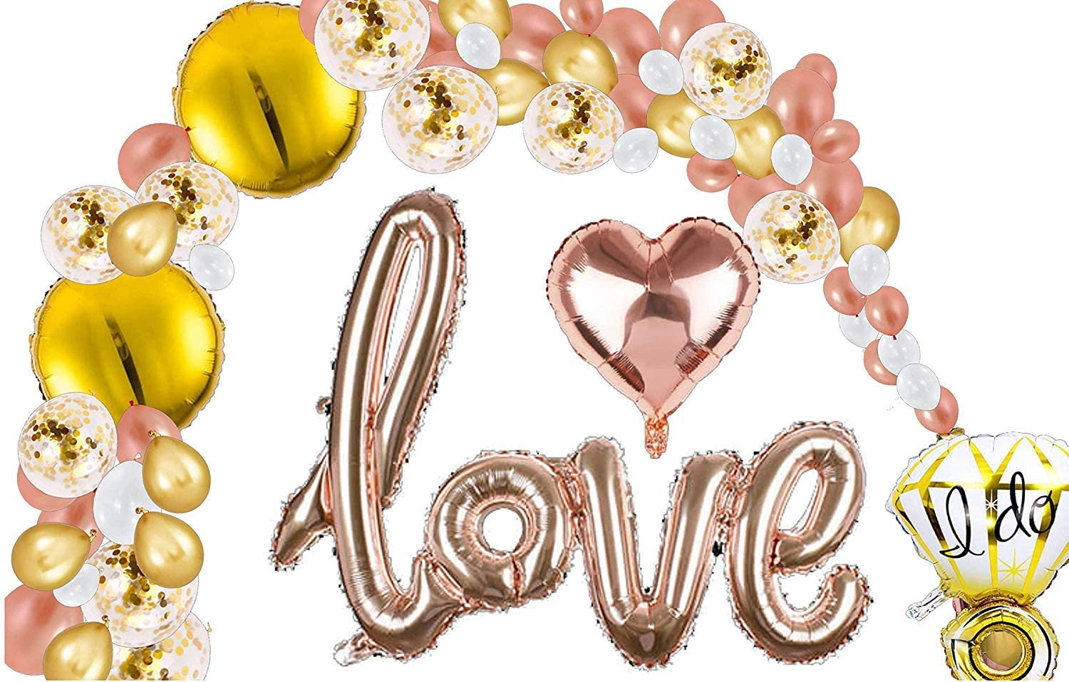 Bachelorette Party Decorations I 151 Rose Gold Bridal Shower Parties Balloons Garland Kits | Confetti Balloon Arch, Foil Love, Heart, White, Hand Pump, Decor I Wedding