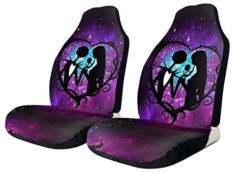 Jinsshop Universal The Nightmare Before Christmas Fit Full Set Front Seat Covers, Car Seat Protectors for Car, Vans, SUV & Truck 2 PCS
