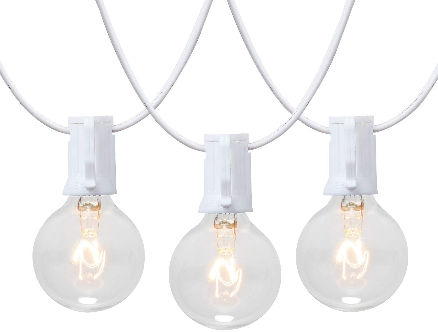50ft White Wire Outdoor Hanging String Lights with 50 Clear Globe G40 Bulbs,UL Certified Indoor/Outdoor for Patio Home Bistro Party Tent Cafe Deck Pergola