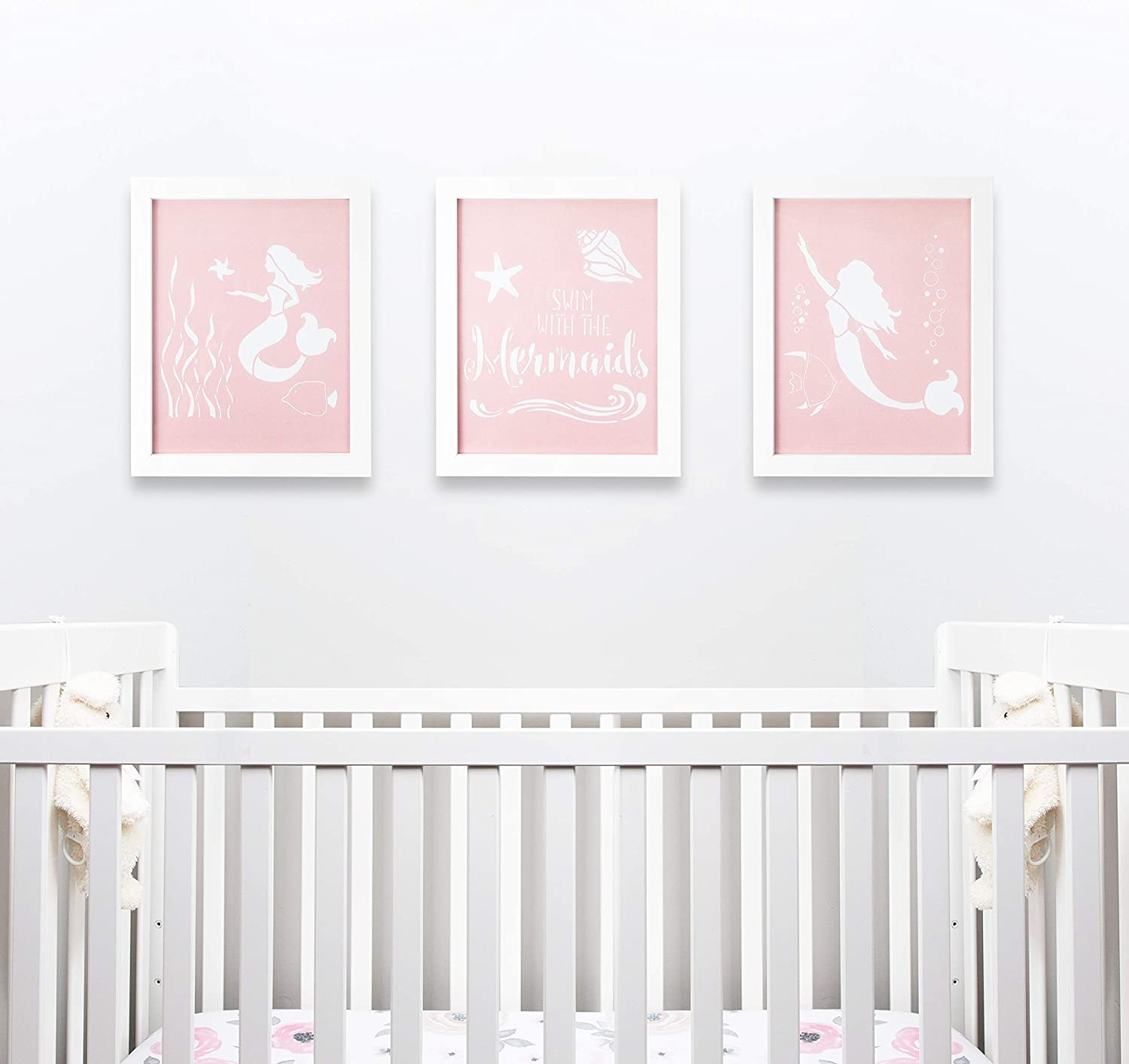 Modern Framed Nursery Decor by Sweet SLSy Set of 3 Mermaid Prints. Cute Mermaids Shells Baby Art Kids Room Wall Baby Room Decor Inspirational Pink