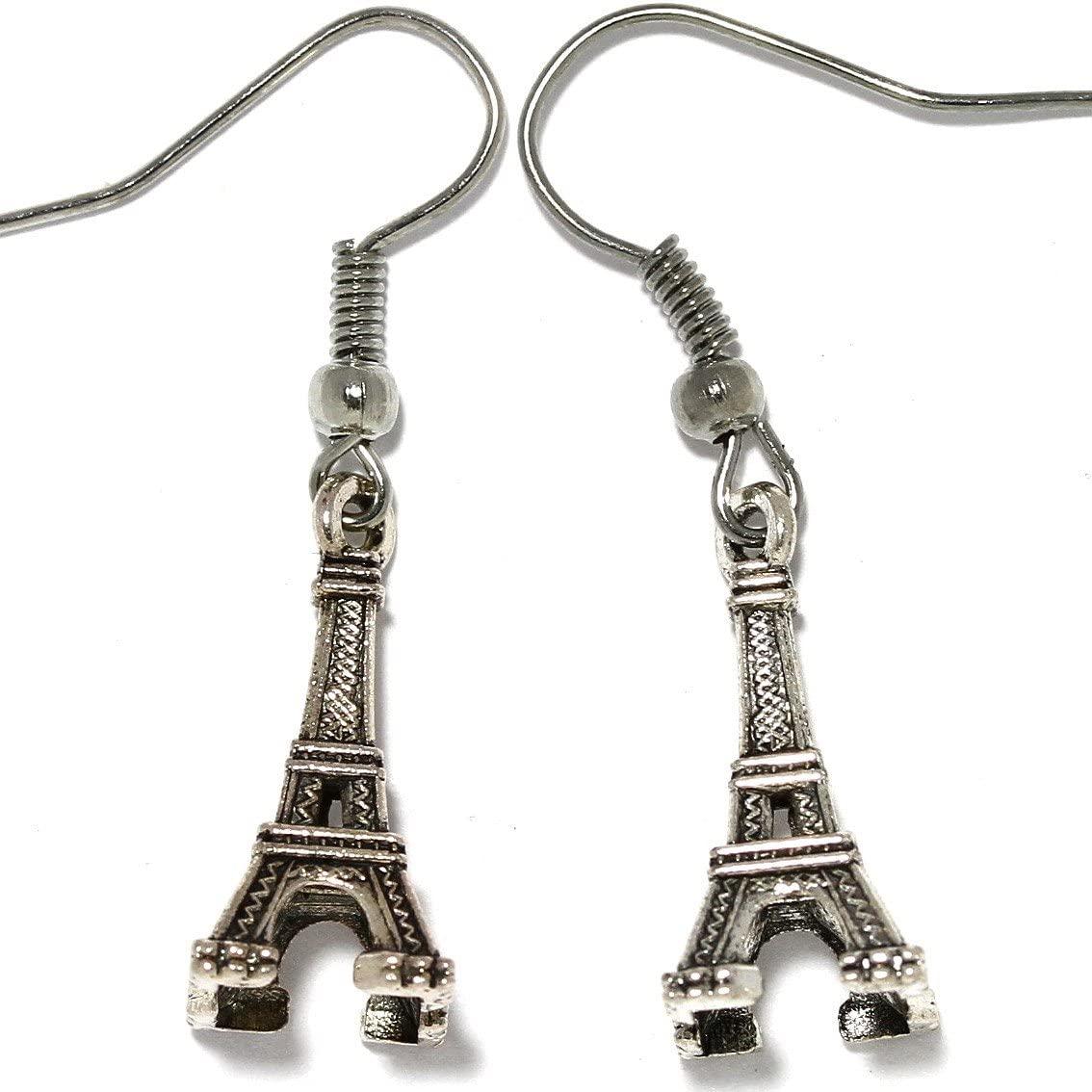 AnsonsImages Eiffel Tower Dangle Earrings Silver Metallic Tone Alloy