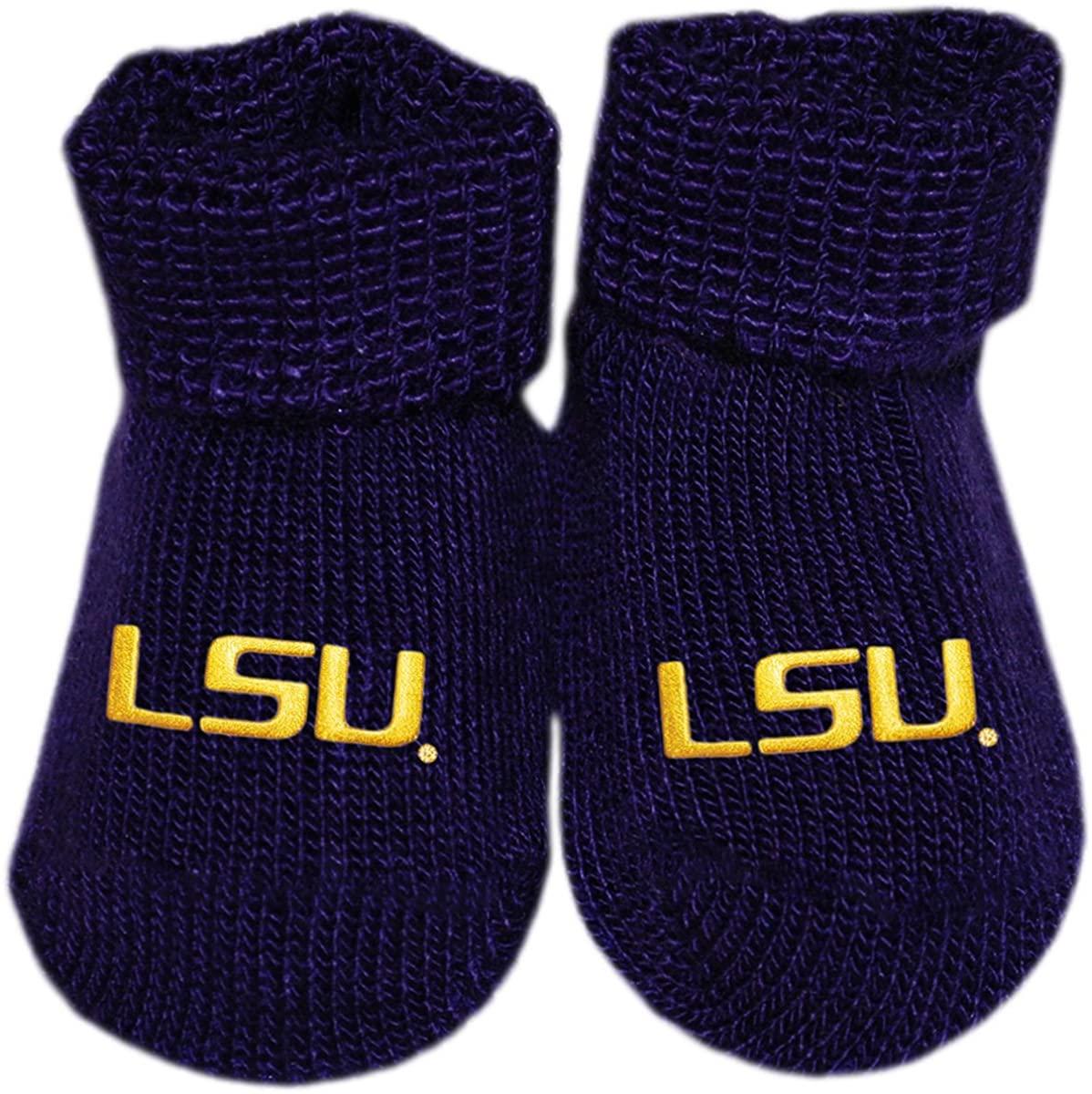 Louisiana State University LSU Newborn Baby Bootie Sock