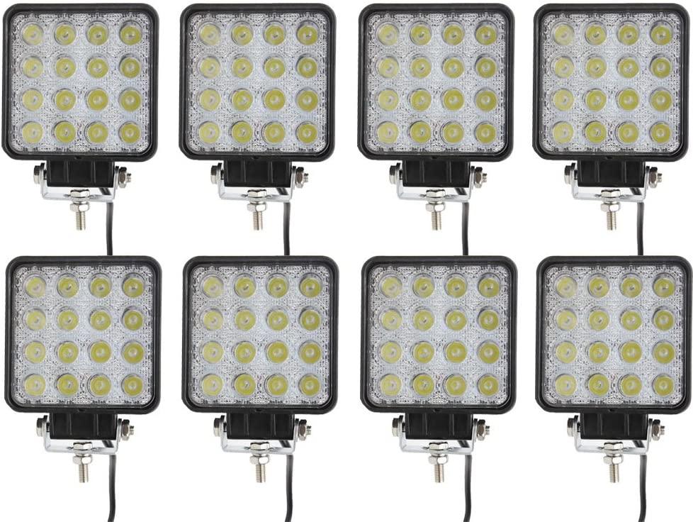 Led Light Bar, Senlips 8x 48W Spot Led Lights Led Fog lights Ofroad Light Bar IP 67 Waterproof for Off-road Vehicle, ATV, SUV, UTV, 4WD, Jeep, Boat-Black
