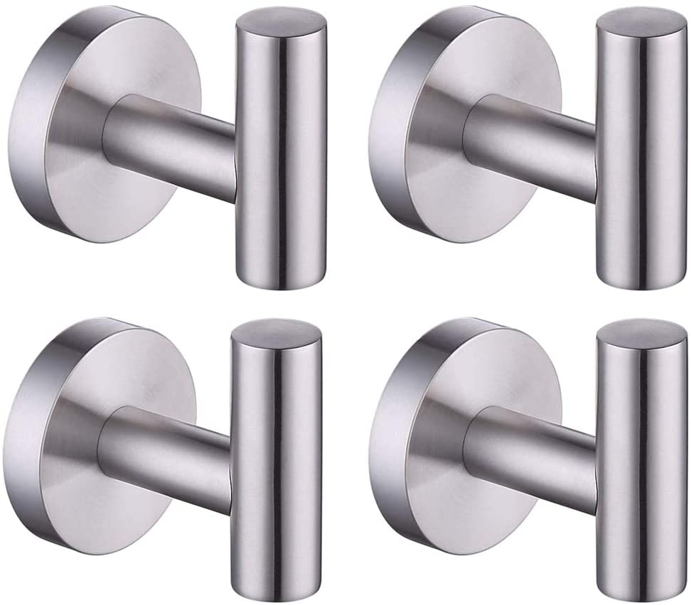 KES Towel Hook No Drill Wall Mounted for Bathroom Kitchen Rustproof Robe Coat Hooks Stainless Steel Brushed 4 Pack, A2164DG-2-P4