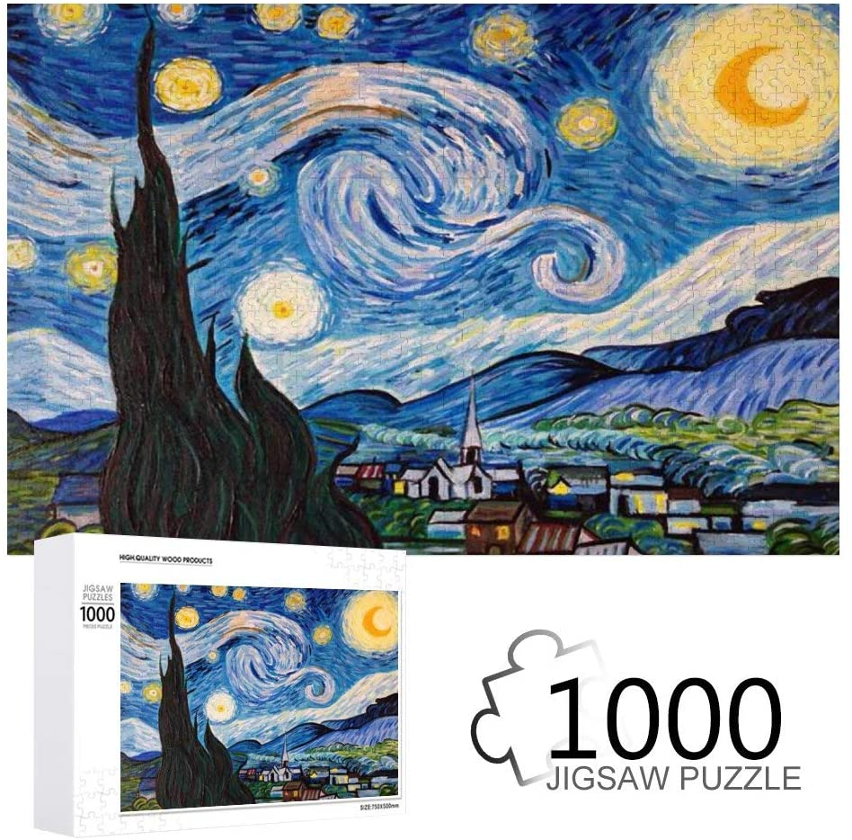 Van Gogh Starry Night Painting Jigsaw Puzzles 1000 Pieces for Adults Kids Wooden Art Challenging Family Game
