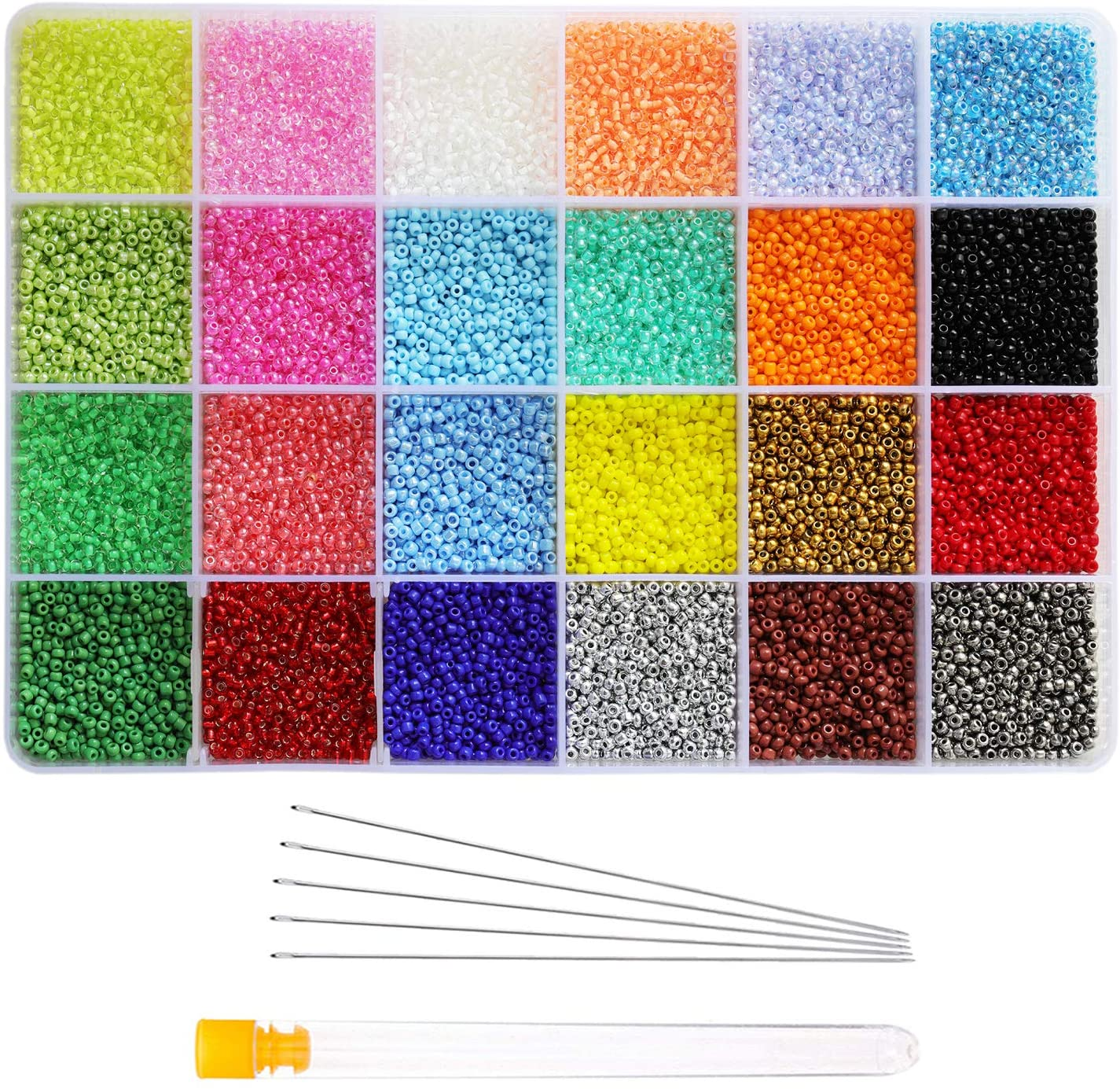 Tibaoffy Size 12/0 Crafts Glass Seed Beads 2mm Tiny Pony Beads Assorted Kit with Organizer Box for Jewelry Making (24 Assorted Multicolor Set, Total About 24000pcs)