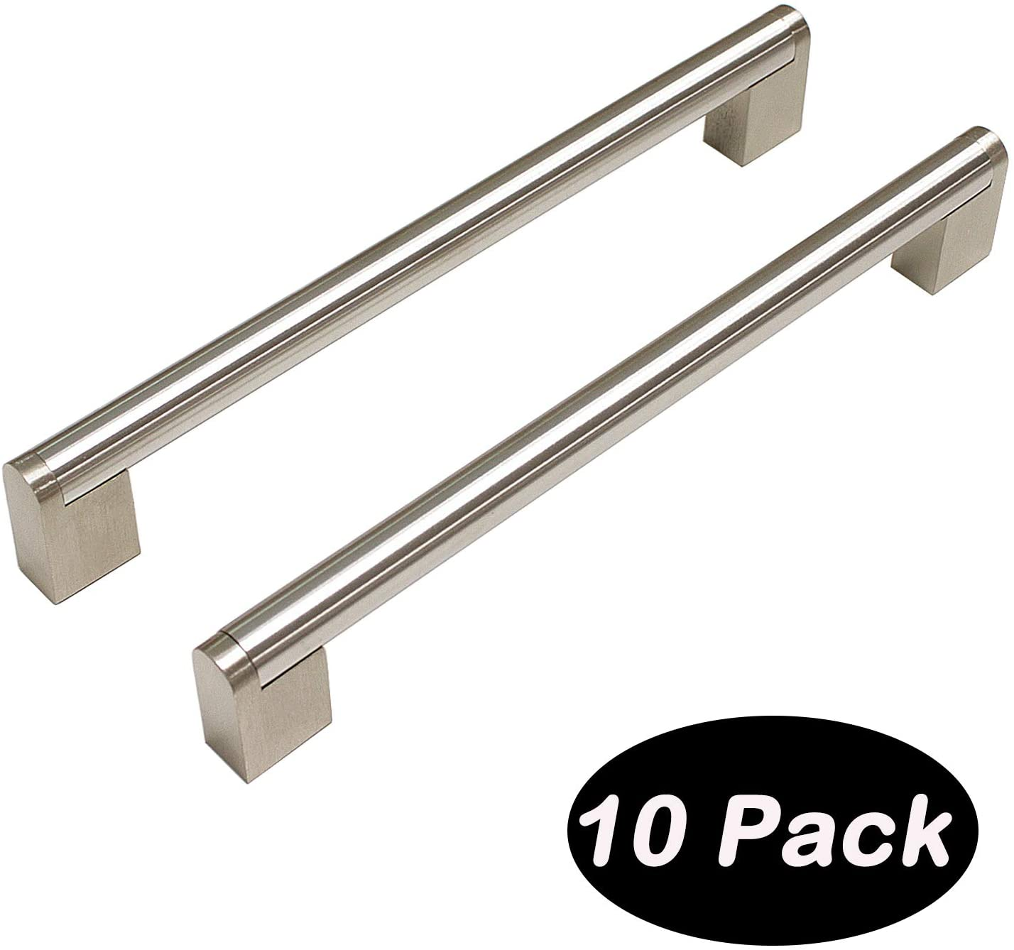 10 Pack 192mm(7-1/2inch) Hole Centers Diameter 14mm Stainless Steel Boss Bar Kitchen Cabinet Door Handles and Pulls Cabinet Knobs Length 229mm(9.16inch) Brushed Nickel