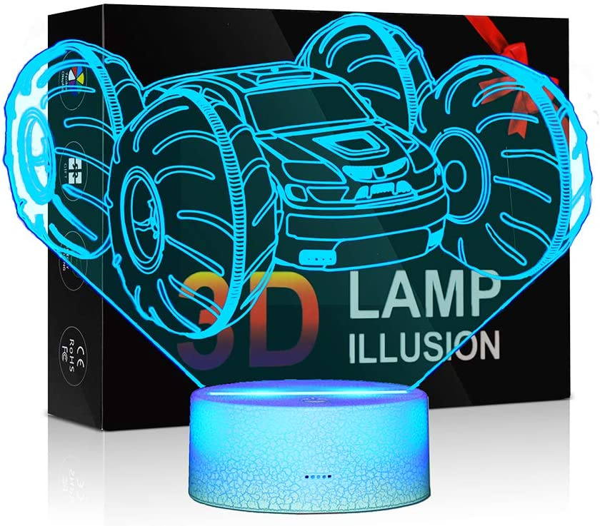 3D Illusion Lamps for Boys Bedroom Night lamp Kids Room Decor Monster Truck Kids LED Night Light 7 Colors Change Decors Lamp Perfect Gifts for Kids Monster Truck Fans